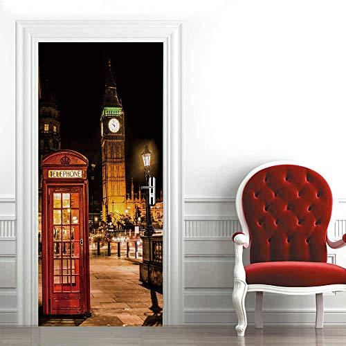 3D Etiqueta de Puerta Autoadhesiva 90X200CM,Extraíble de Bricolaje Pegatinas de Pared decoración de Hogar Arte Moderno Vinilos Puerta Pegatina- Big Ben de Londres,Cabina Telefónica