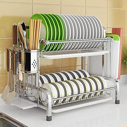 PPuujia Abtropfgestell für Geschirr, 2 Etagen, Edelstahl, für Schüssel, Teller, Geschirr, Abtropfgestell mit Besteckhalter, Küchenbesteck, Ablage für Utensilien (Farbe: A)