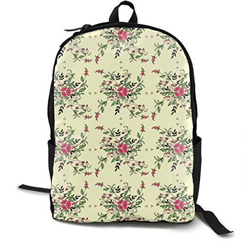 USB Backpack 17 Inches Laptop Backpack for Travel Flower Dance