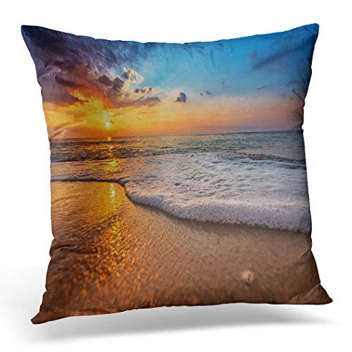 Awowee Funda de cojín de 40 x 40 cm, diseño de paisaje de playa durante el sol, hermosa Málaga natural, decoración del hogar, funda de almohada cuadrada para sofá de cama