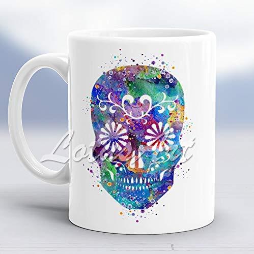 N\A Taza de Acuarela de Calavera de azúcar Taza Personalizada de Arte de Calavera Taza de café Taza Personalizada Regalo de cumpleaños Taza con Estampado de Acuarela Taza para Ella Taza para é