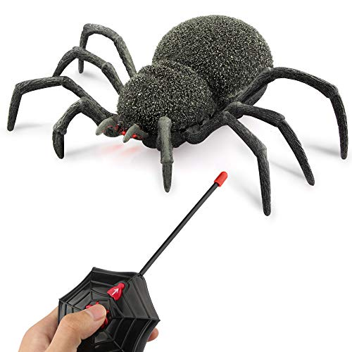 Baztoy Remote Control Joke Toys Halloween Prank Fake Scare Robot Climbing by 8 Legs Realistic with LED Eyes Fool Gift for Kids