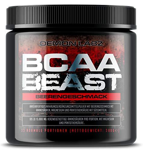 BCAA Beast (Beerengeschmack) - BCAA Pulver 10:1:1-15.000mg BCAA pro Portion – Essentielle Aminosäuren Leucin, Isoleucin und Valin (300g)