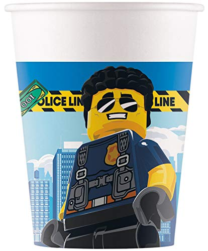 Procos 92247 - Pappbecher, Lego City, 200ml, 8 Stück, Becher, Trinkbecher, Geburtstag, Mottoparty