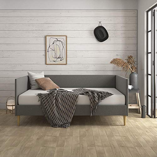DHP Franklin Mid Century Upholstered Daybed, Queen Size, Grey Linen Bed