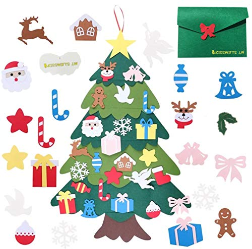 Felt Christmas Tree, DIY Christmas Tree with 30 Pcs Detachable Ornaments Wall Decor with Hanging Rope, Xmas Gifts Home Door Decoration for Kids DIY Parent-Children Interaction (Light Green)