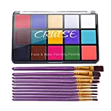 UCANBE CRUISE Face Body Paint Set, 15 Colors Painting Palette Makeup Kit with 10 Pcs Professional Artist Brushes for Halloween Cosplay Party