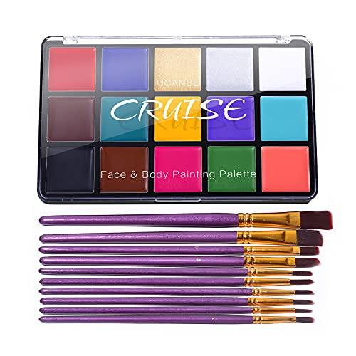 UCANBE CRUISE Face Body Paint Set, 15 Colors Painting Palette Makeup Kit with 10 Pcs Professional...