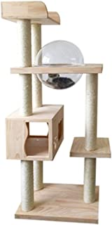 Cat Tree Cat Scratching Post Cat Tower Wooden Hammock Cat Furniture Cat Home Activity Play Towers Tree Climber for Indoor Cats Cat Tree for Large Cat Soul hill (Color : Natural, Size : As pictiure)