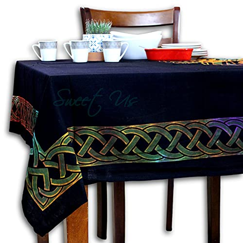 Cotton Celtic Clover Tie-Dye Tablecloth for Rectangle Tables Blue Green Purple Orange Yellow Shamrock Table Cloth Table Cover for Indoor and Outdoors