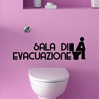 Zaidao Vinyl Saying Lettering Wall Art Inspirational Sign Wall Quote Decor French Quote Sala Di Evacuazione for Toilet Wc