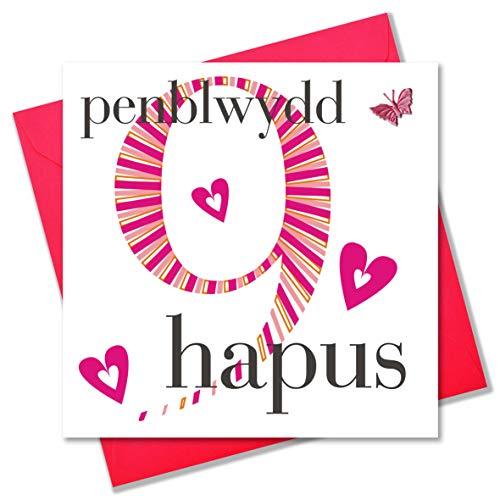 Claire Giles verjaardagskaart van Wales Penblwydd Hapus verjaardagskaart 9 jaar voor meisjes