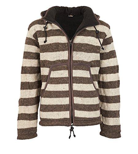Warme Strickjacke aus Wolle Jacke mit Fleecefutter und Abnehmbarer Kapuze, Größe/Size:S;Farbe:Naturfarben
