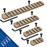 Semedea Picatinny Rail Accessory Set Compatible with Mlok Systems, 3-Slot 5-Slot 7-Slot 13-Slot Aluminum Picatinny Rails Section with 9 T-Nuts & 9 Screws & Allen Wrench Tan