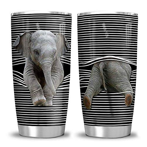 64HYDRO 20oz Elephant Lover Elephant Gift Tumbler Cup with Lid, Double Wall Vacuum Sporty Thermos Insulated Travel Coffee Mug