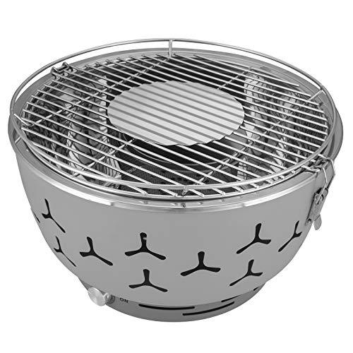 eSituro Barbecue Portatile a Carbone da Tavola Griglia con Ventola a Batteria BBQ per Campeggio Picnic SBBQ0002