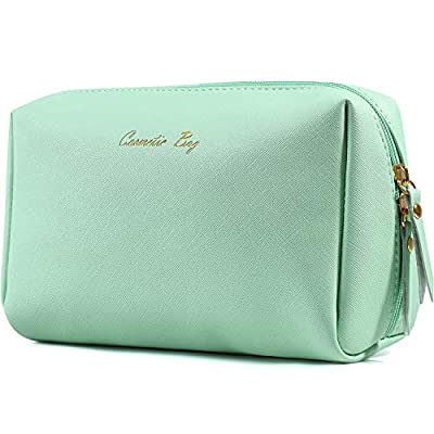 Large Vegan Leather Makeup Bag Zipper Pouch Travel Cosmetic Organizer for Women and Girls (Large, Mint Green)