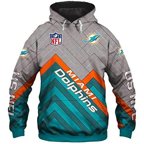 Kasonj NFL Unisex Amerikanisch Fußball Sport-Kapuzenpullover - Trikot Logo Lange Ärmel Sweatshirt(Miami Dolphins XXL)