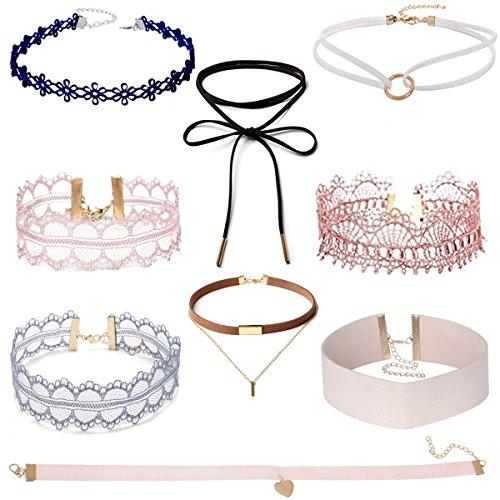 Tpocean 9Pcs Pink Vintage Lace Tattoo Choker Set Gothic Elastic Punk Velvet Necklaces for Women Girls Party Gifts