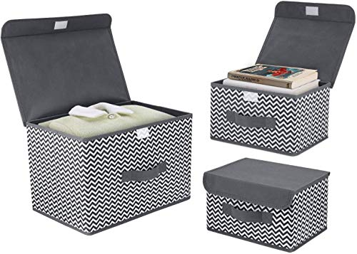 DIMJ 3 Pack Foldable Storage Boxes with Lids Fabric Storage Organiser Box with Handle Large Storage Bins for Toys, Books, Closet, Bedroom, Home (Grey)