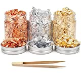 Gold Foil Flakes Metallic Flakes for Resin with Tweezers, 3 Bottles Gilding Flakes Craft Gold Metal Leaf for Nail Art, Painting, Slime, Epoxy and Jewelry Making-Golden, Silver and Copper Color