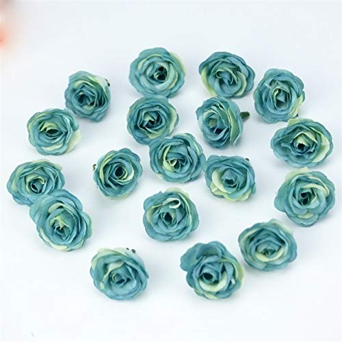 WPF 50pcs Artificial Flowers Roses Heads, Mini Silk Without Stem Fake Flowers,for Wedding Party Home Decoration Corsages (Color : Blue, Size : 100pcs)