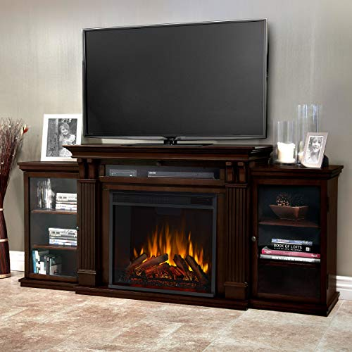 Real Flame Calie Electric Media Fireplace, Large, Dark Walnut