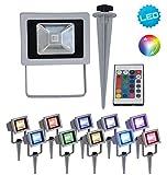 Näve Leuchten RGB LED Strahler mit Farbwechsler, Aluminium, 1 W, Bunt, 9.5 x 11.5 x 32 cm