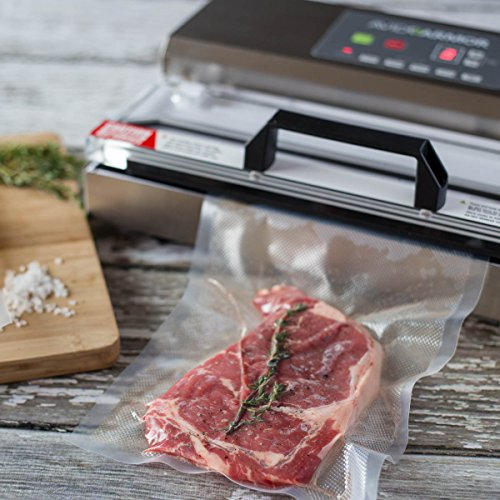 """Avid Armor Vacuum Sealer Machine - A100 Stainless Construction, Clear Lid, Commercial Double Piston Pump Heavy Duty 12"""" Wide Seal Bar Built in Cooling Fan Includes 30 Pre-cut Bags and Accessory Hose"""