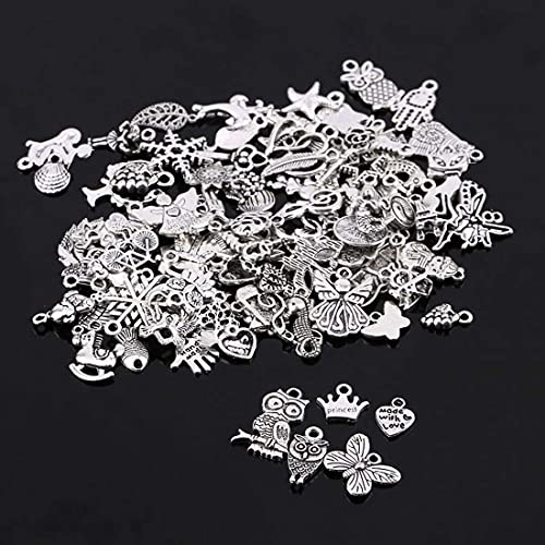DIY Crafts 10-250 pcs/lot Random Mixed Tibtan Silver Beads Charms Pendants for DIY Jewelry Making Accessory Christmas Gift Package Include As Title (45 Pcs, Random Mixed Tibtan Silver Beads)