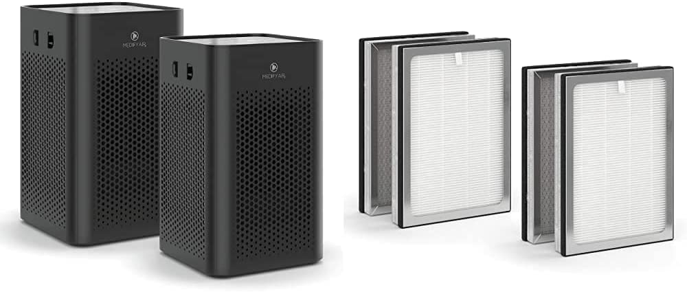 Medify MA-25 Air Purifier with H13 True HEPA Filter | 500 sq ft Coverage | for Smoke, Smokers, Dust, Odors, Pet Dander | Quiet 99.9% Removal to 0.1 Microns | Black, 2-Pack