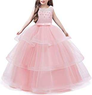 Girl Frocks Kids Embroidery Gorgeous Lace Ruffles Fluffy Party Formal Dresses