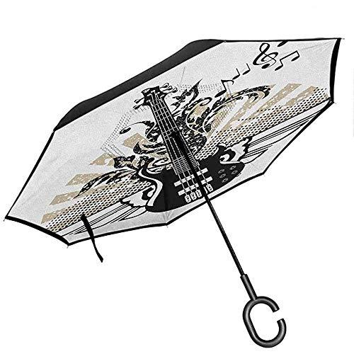 Gitarren-Auto-Rückseiten-Regenschirm-Zusammenfassungs-Schnur-Muster-Aquarell-Effekt-Weinlese-Inspirations-magentaroter violetter Senf