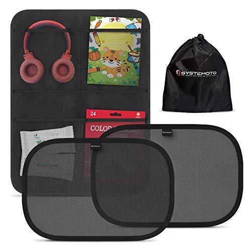 Systemoto Autositz Organizer + Sonnenschutz Auto Baby mit UV Schutz (2er Set) - Kinder Rückenlehnentasche und Selbsthaftender Autosonnenschutz (Schwarz)