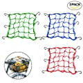 "Creatiee 3Pcs Luggage Cargo Net, 15'' Elastic Net Pocket with 6 Rubber-Tipped Metal Hooks & Tight 3""x 3"" Mesh for Motorcycle ATV Bike Bicycle"
