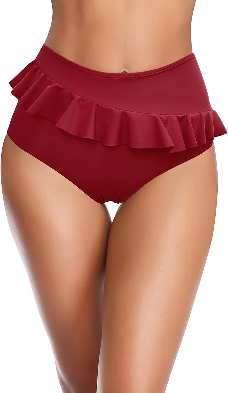 SHEKINI Women's Ruffled Mid Waisted Full Coverage Swimsuit Tummy Control Bikini Bottoms