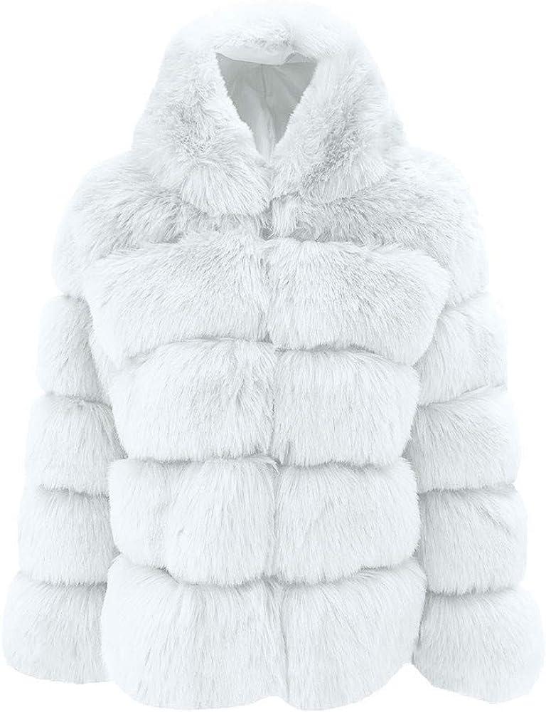 XCeihe Women Faux Mink Winter Hooded New Faux Fur Jacket Warm Thick Outerwear Jacket