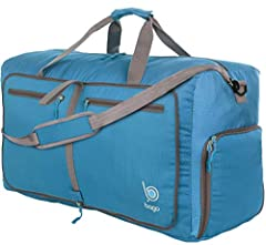 """EVERYONE NEEDS A LARGE TRAVEL DUFFEL BAG: Measures 11x15x27 inches with 80 Liters capacity and weighs 1.5 pounds. Multipurpose: for travel, sports gear, shopping, and organizing. Folds up compact to: 11.8"""" x 12.6"""" (30 x 32 cm). Take it along as an ex..."""