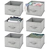 mDesign Juego de 6 organizadores para armarios – Cajas de Tela para ordenar armarios – Cajas organizadoras con diseño clásico para Ropa, Mantas, Accesorios y más – Gris y Negro