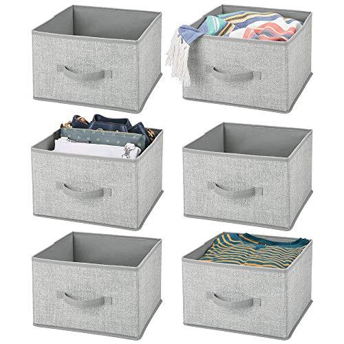 mDesign 6er-Set Aufbewahrungsbox aus Stoff – für Ordnung im Kleiderschrank – Stoffkiste mit klassischem Muster für Kleidung, Decken, Accessoires und mehr – grau und schwarz