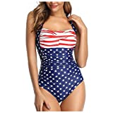 Plus Size Tummy Control Swimwear Halter One Piece Swimsuit Push...