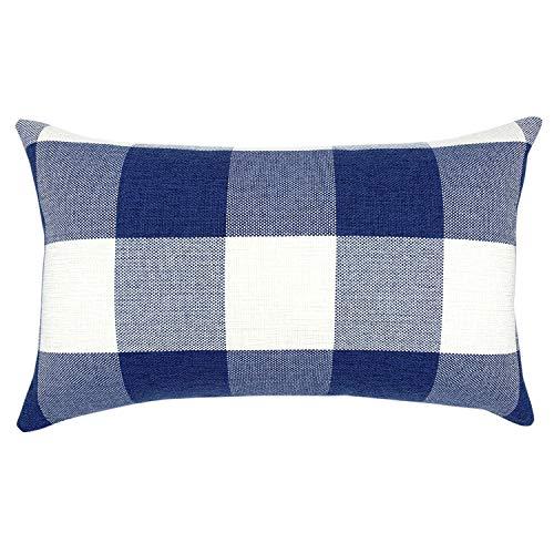 YOUR SMILE Retro Farmhouse Buffalo Tartan Checkers Plaid Cotton Linen Decorative Throw Pillow Case Cushion Cover Pillowcase Lumber for Sofa 12 x 20 Inch,Navy/White