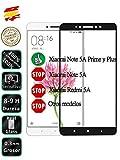 Movilrey Protector para Xiaomi Note 5A Prime Negro Completo 3D Cristal Templado de Pantalla Vidrio Curvo para movil