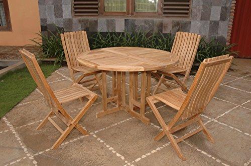"Windsor's Genuine Grade A Teak, Barcelona 39"" Round Drop Leaf Table W/4 Java Folding Chairs w Lumbar Support, World's Best Outdoor Furniture, Teak Lasts A Lifetime! Assembled"