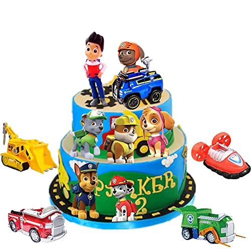 Adornos para Tartas de Patrulla Canina,Caricatura Cake Topper, Fiesta de Cumpleaños DIY Decoración Suministros,Decoraciones para Acuarios,suministros para decoración de tartas para fiestas,12Piezas