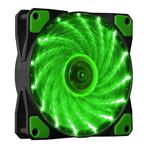 MERIGLARE Ventilador Silencioso con Caja de Computadora de 120 Mm 120x120x25 Mm con Lámpara LED - Verde