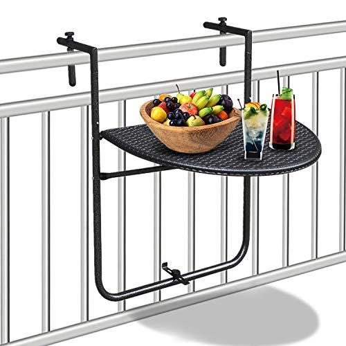 HENGMEI Balkonhängetisch klappbar Balkontisch Hängetisch Klapptisch 3-Fach höhenverstellbar für Balkon