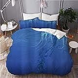 Juego de 3 fundas de edredón para ropa de cama con 2 fundas de almohada, medusas, vida de acuario, animales marinos, depredador del océano, aguas profundas, edredón de microfibra ultra suave de primer