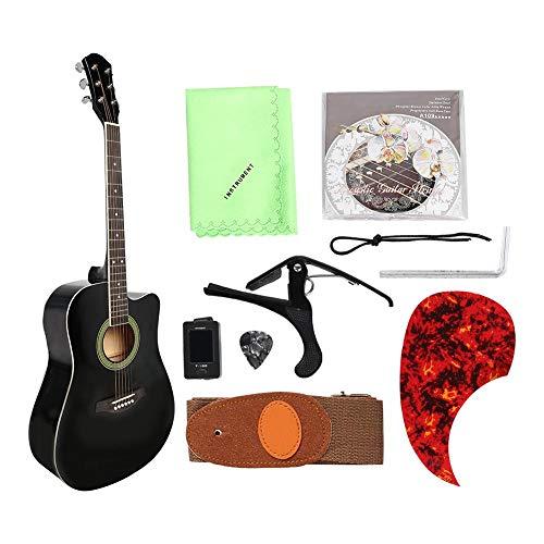 Dilwe 41 Pulgadas Guitarra Folk, Madera Portátil Guitarra Acústica Dreadnought Cutaway Afinador de Guitarra Púas Bolsa Set para para Niños Adultos
