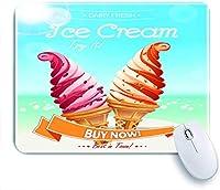 Mabby マウスパッド,Delicious Creamy Cones on Summer Beach Cartoon Design for Ice Cream Shops Print,ラップトップコンピュータPCオフィス用の滑り止めラバーベースマウスパッド